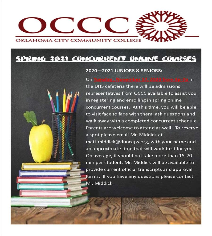 OCCC  Concurrent Courses   Click to learn More