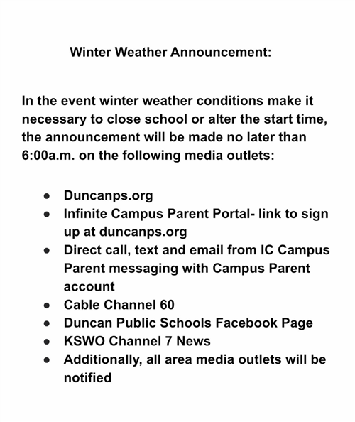 "Winter Weather Announcement   click ""Learn More"" for complete announcement"