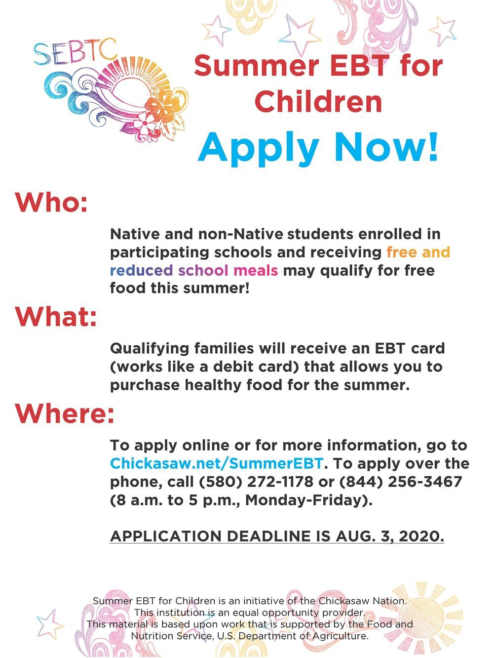 Summer EBT for Children. Apply Now!