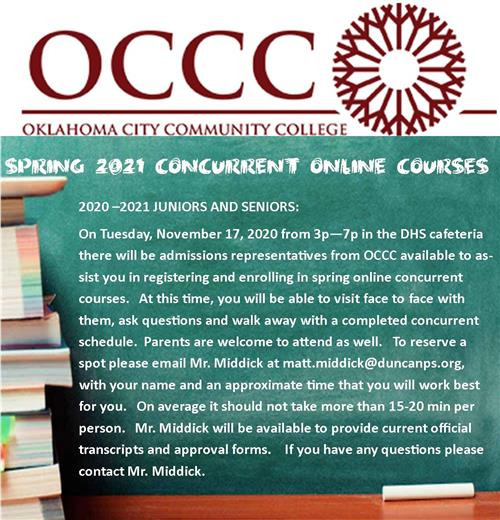 Spring 2021 Concurrent Class Information