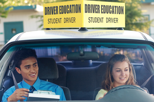 Student driver receiving instruction
